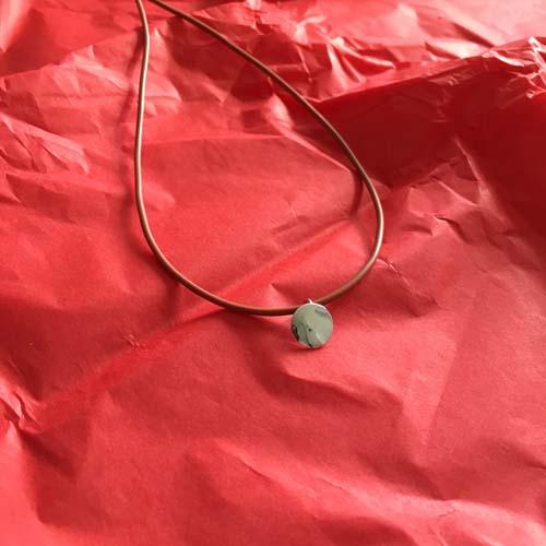 Button silver pendant