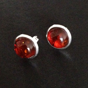 Amber and silver circle earrings