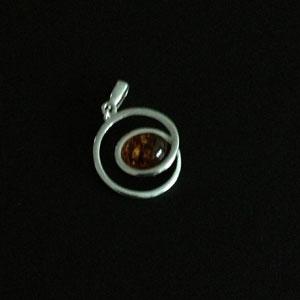 Swirl cognac amber pendant