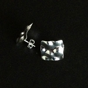 Silver large squared earrings