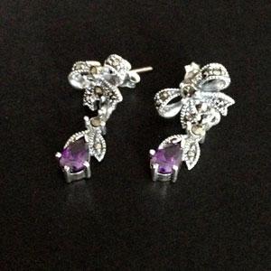 Marcasite amethyst earrings