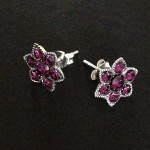 Silver and marcasite flower earrings