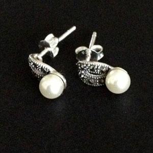 Marcasite pearl earrings