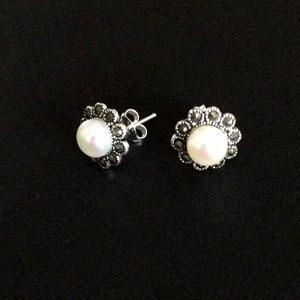 Marcasite pearl flower earrings