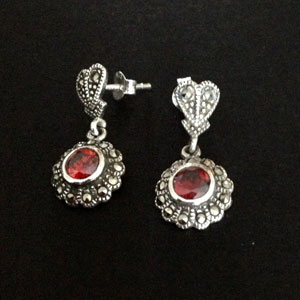 Marcasite and silver ruby earrings