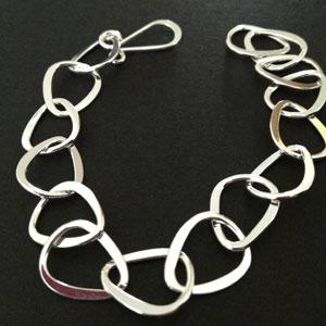 Oval chain silver bracelet