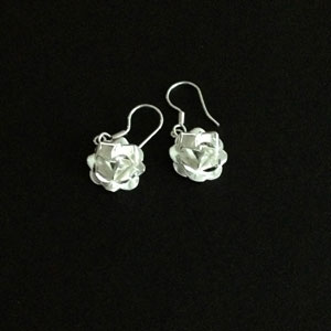 Rose silver earrings