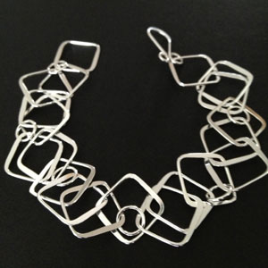 Square silver chained bracelet