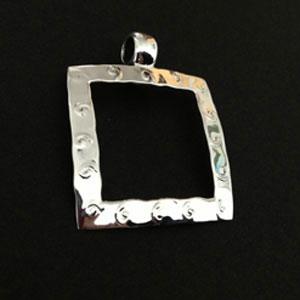 Squared silver pendant