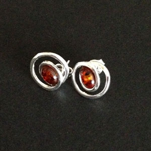 Silver swirl amber earrings