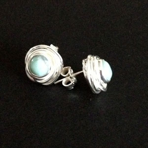 Silver nested earrings with turquoise