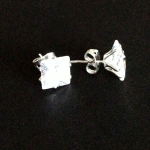 Zirconia large silver earrings
