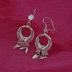 dangle decorated silver earrings