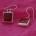 red squared dangle earrings