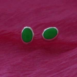 Oval green studs