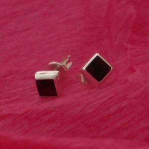 silver squared studs with stone