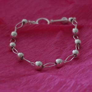 silver bracelet with spheres
