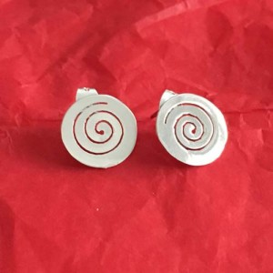 Silver disc cut out earrings