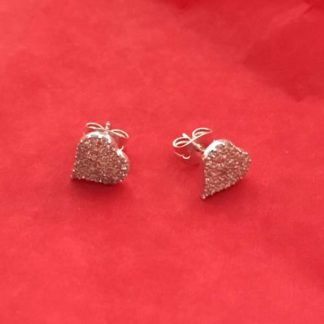 Sparkly heart silver studs