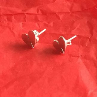 Cut out heart silver studs