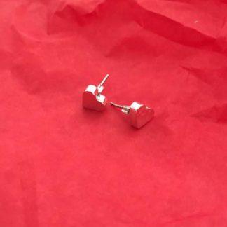 hammered heart silver earrings