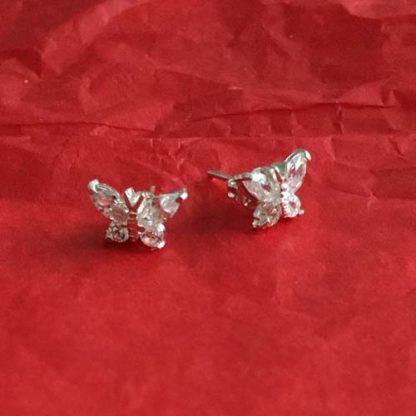 Silver butterfly studs