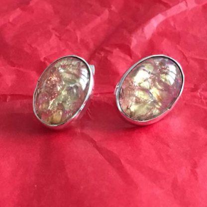 Opal oval silver earrings