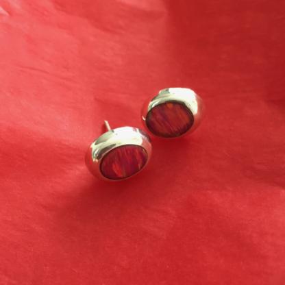 Silver Oval Resin Earrings