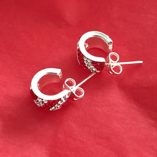Silver Red/White Crystal earrings