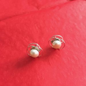 Silver Nested Pearl Earrings