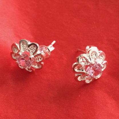 Silver Flower Crystal Earrings