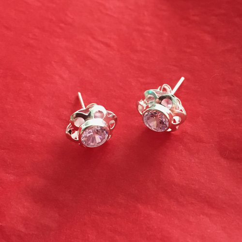 Silver Studs With Pink Crystal