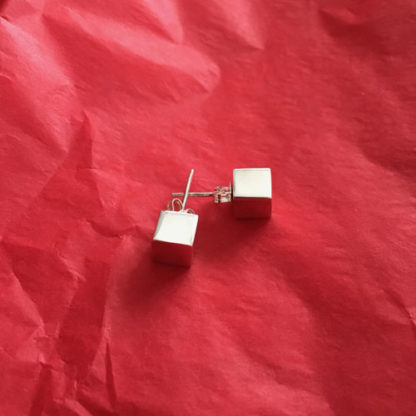 Silver Cube Studs