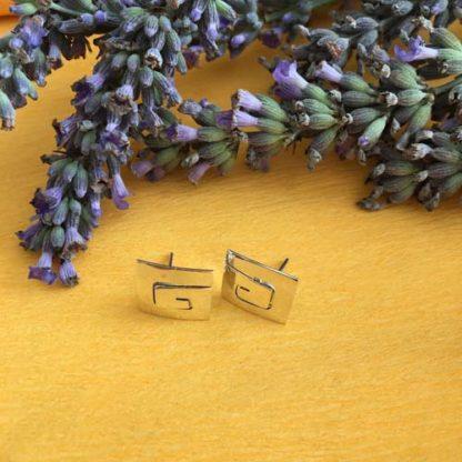 Silver maze earrings