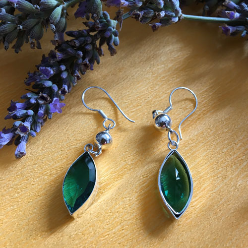 Silver emerald dangle earrings