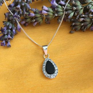 Silver with onyx droplet necklace