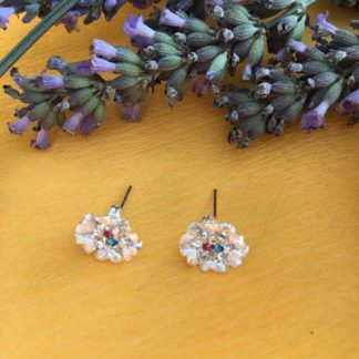 Silver sparkly flower earrings