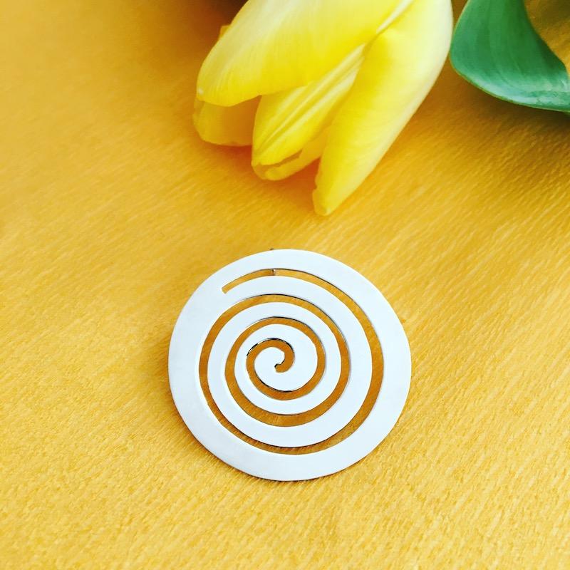 Spiral silver pendant