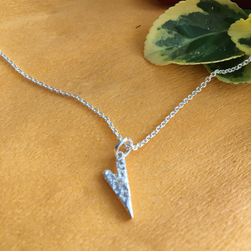 Silver heart pendant with chain