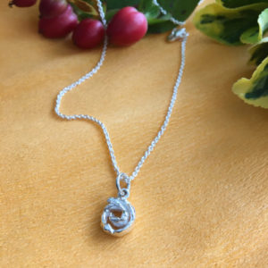 Spiral silver pendant with chain