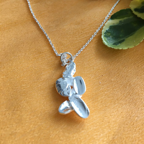 Silver leaves pendant with chain