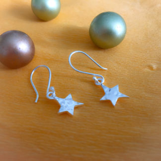 Star silver dangling earrings
