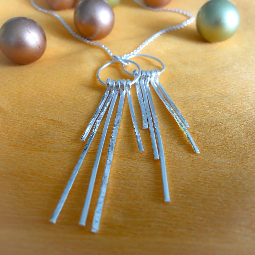 Silver strands necklace